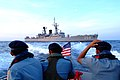 US Navy 050728-N-4772B-428 Indonesian Navy boarding team members ride one of the amphibious dock landing ship USS Harpers Ferry's (LSD 49) small boats from the Indonesian frigate Karel Satsuit Tubun (KST 356) to the guided miss.jpg