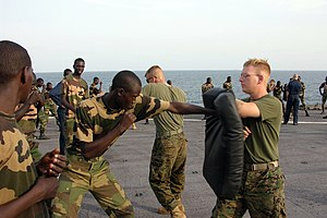 US Navy 051103-M-2175L-200 U.S. Marine Corps Lance Cpl. Ryan Papa, right, assigned to 2nd Platoon, Company C, 1st Battalion, 8th Marine Regiment, holds a striking pad for a member of the Senegalese 90th Naval Infantry.