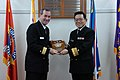 US Navy 061205-N-3333K-001 Rear Adm. Raymond Berube, commander, Fleet and Industrial Supply Centers (COMFISCS), accepts a plaque from Vice Adm. Yosinori Kawano, commander of the Maritime Materiel Command, Japan Maritime Self De.jpg