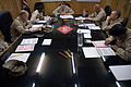 US Navy 080210-N-7367K-006 Senior Chief Builder James Walley, center, a Seabee assigned to Naval Mobile Construction Battalion (NMCB) 15, Task Force Sierra Det. 1, goes over the administrative data of the advancement exam.jpg