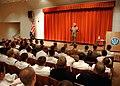 US Navy 080730-N-3236B-002 Deputy Secretary of Defense The Honorable Gordon England addresses submarine Sailors inside the Trident Training Facility in Bangor.jpg
