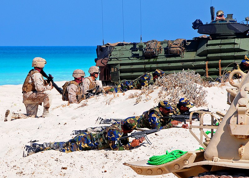 US Navy 091012-N-8132M-245 Marines assigned to the 22nd Marine Expeditionary Unit (22nd MEU), along with Marines from Kuwait and Pakistan, conduct an amphibious assault demonstration during Exercise Bright Star 2009.jpg
