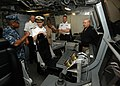 US Navy 101012-N-6125G-018 Cmdr. Michael Riley, left, commanding officer of the littoral combat ship USS Independence (LCS 2),.jpg