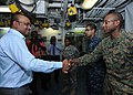 US Navy 101025-N-7680E-073 President of Guyana Bharat Jagdeo meets Cpl. John Eversley, a Guyanese-American Marine embarked aboard the multi-purpose.jpg