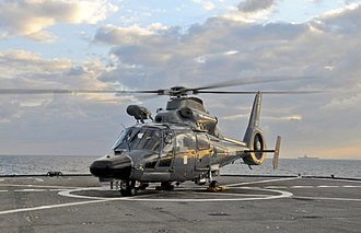 Eurocopter AS365 Dauphin - French Navy AS365 F Dauphin aboard USS ''Mount Whitney'' during Opération Harmattan, 2011