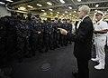 US Navy 110910-N-ZZ999-003 Secretary of the Navy (SECNAV) the Honorable Ray Mabus addresses the crew of USS New York (LPD 21).jpg