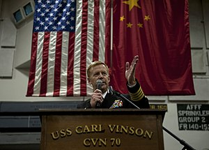 US Navy 111227-N-DR144-753 Capt. Kent D. Whalen, commanding officer of the Nimitz-class aircraft carrier USS Carl Vinson (CVN 70), delivers remarks.jpg