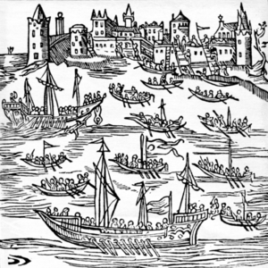 Chaika (boat) - 17th century woodcut showing Zaporozhian Cossacks in chaikas, destroying the Turkish fleet and capturing Caffa in 1616.