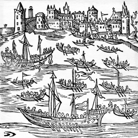 "17th-century woodcut showing Zaporozhian Cossacks in ""chaika"" boats, destroying the Turkish fleet and capturing Caffa Ukrainian cossacks conquer Feodosia.png"