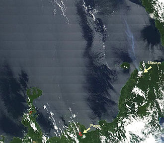 Ulawun - A steam plume over the sea from the Ulawun is clearly visible on this satellite image.