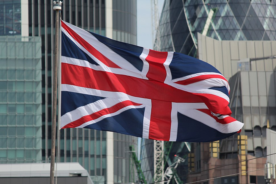 Union Flag flying along the River Thames in London in 2016.