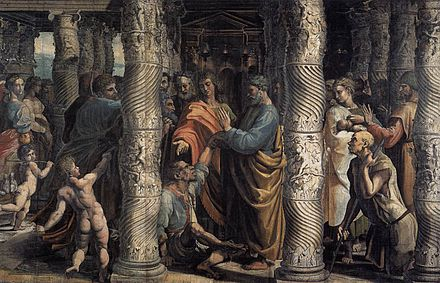 "Raphael and workshop, ""Healing of the Lame Man,"" one of the Raphael Cartoons for a tapestry of Peter healing the lame man (Acts 3). The Solomonic columns in St Peter's Basilica used as models for the columns of the Jewish Temple"