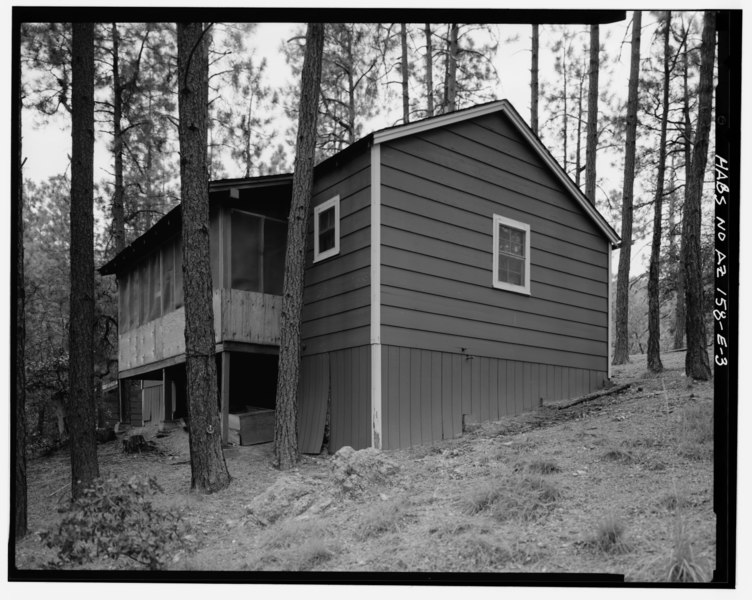 File:VIEW OF WEST WALL AND SOUTH SIDE LOOKING NORTHEAST - Horsethief Basin Resort, Cabin No. 5, 7 miles Southeast of Crown King, Crown King, Yavapai County, AZ HABS ARIZ,13-CROWNK.V,1E-3.tif
