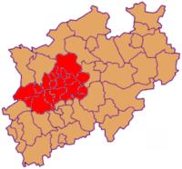 Kreise und kreisfreie Städte in NRW, hier: Lage desVRR