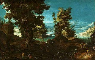 Krajobraz z rzeką i drzewami