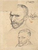 Several drawn finished and unfinished sketchy portraits of Vincent van Gogh on a single sheet of paper.