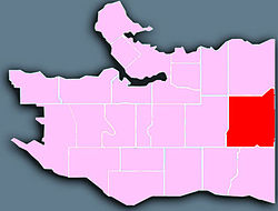 Location of Renfrew-Collingwood in Vancouver.