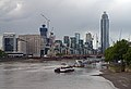 Vauxhall, Vauxhall Bridge, St George Wharf Tower at low tide. View from Lambeth Bridge.jpg