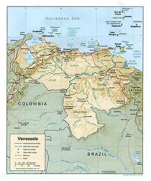 Geography of Venezuela - Shaded relief map of Venezuela
