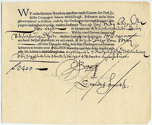 A bond from the Dutch East India Company, dating from 7 November 1623, for the amount of 2,400 florins; written out and authorized in Middelburg, but signed in Amsterdam Vereinigte Ostindische Compagnie bond - Middelburg - Amsterdam - 1622.jpg