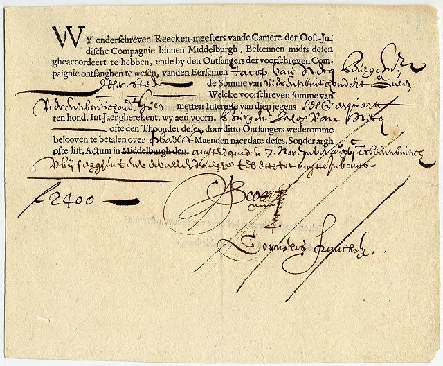 Vereinigte Ostindische Compagnie bond - Middelburg - Amsterdam - 1622