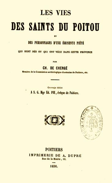 File:Vies des Saints du Poitou ou des personnages d'éminente piété - Charles de Chergé - 1856.png