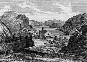 Harpers Ferry, West Virginia - View of Harpers Ferry from Jefferson Rock in 1854.