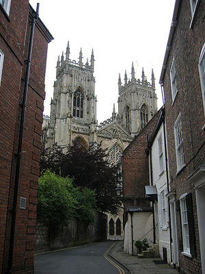 Precentor - A view of York Minster from a street named Precentor's Court.