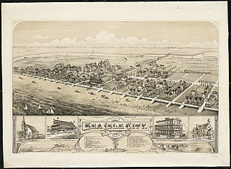 Sea Isle City, New Jersey - Bird's-eye view of the town in 1885