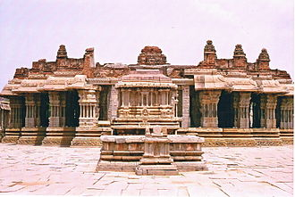 Krishnadevaraya - Vitthala temple with musical pillars, Hoysala style multigonal base Hampi