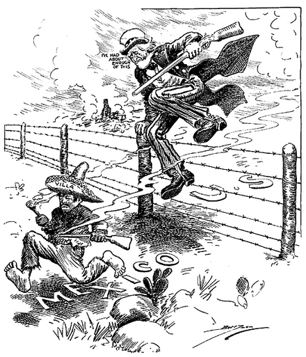 "Political cartoon in the U.S. Press. Uncle Sam chases Pancho Villa, saying ""I've had about enough of this."" VillaUncleSamBerrymanCartoon.png"