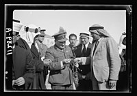 Visit to Beersheba Agricultural Station (Experimental) by Brig. Gen. Allen & staff & talks to Bedouin sheiks of district by station superintendent. Gen. Allan asking questions about this LOC matpc.20541.jpg