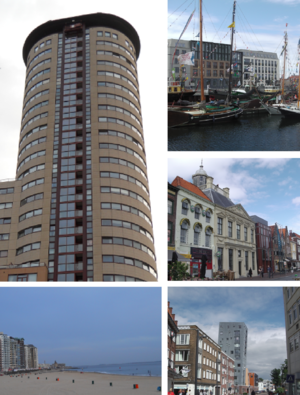 Vlissingen - Clockwise from top left: Coastline skyscraper, harbour, museum, residential tower and boulevard with beach