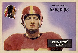 Volney Peters - Peters on a 1955 Bowman football card