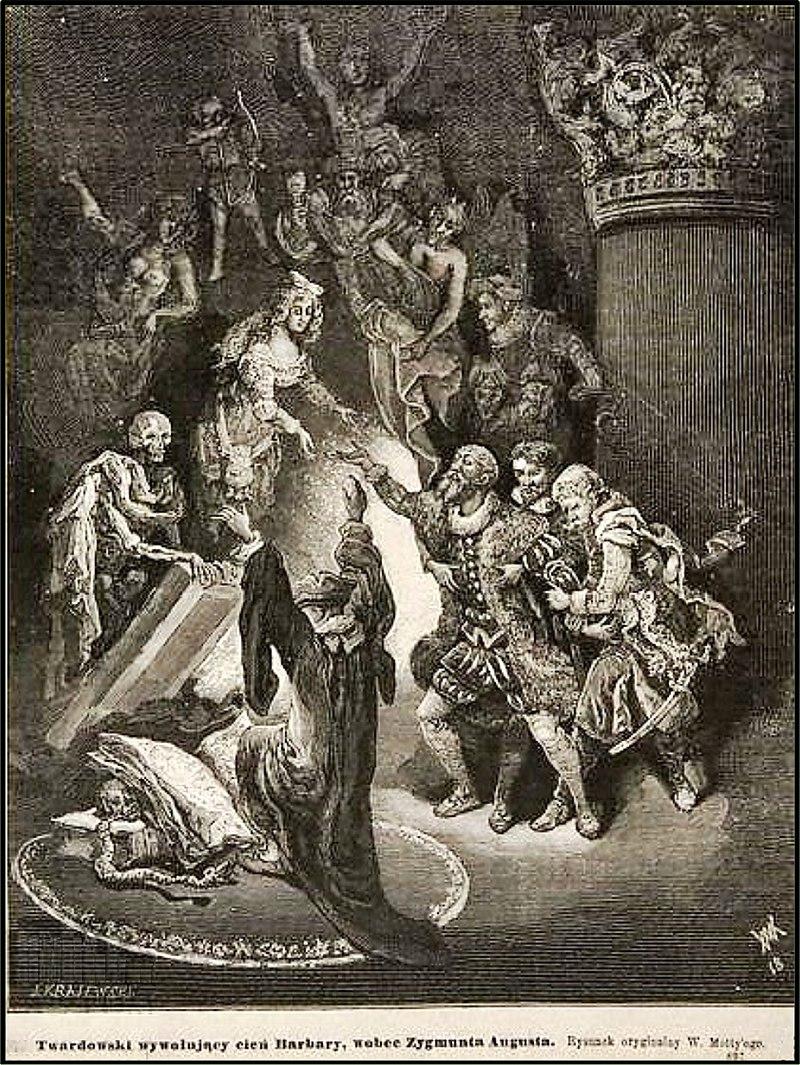 Władysław Motty - Twardowski wywołujący cień Barbary w obecności Zygmunta Augusta.jpg