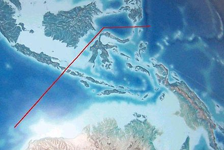 Wallace's hypothetical line divide Indonesian Archipelago into 2 types of fauna, Australasian and Southeast Asian fauna. The deep water of the Lombok Strait between the islands of Bali and Lombok formed a water barrier even when lower sea levels linked the now-separated islands and landmasses on either side. Wallace's line.jpg