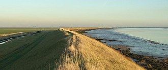 Wallasea Island - The southern sea wall of Wallasea Island with the estuary of the River Roach to the right.