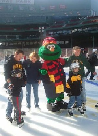 Wally the Green Monster - Wally at Frozen Fenway 2012
