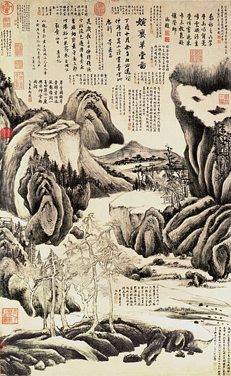 Southern School - Dramatic landscape by the late Ming painter Dong Qichang, who invented the term, with the seals and poems of appreciation of later collectors