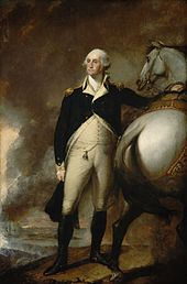 Painting of George Washington at Dorchester Heights, standing next to his white horse