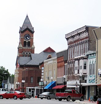 Washington, Iowa - The north side of the Washington Square with the Courthouse in the background.