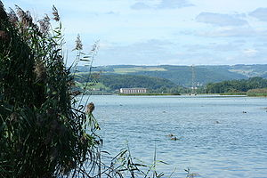 Klingnau - The hydroelectric plant and reservoir at Klingnau