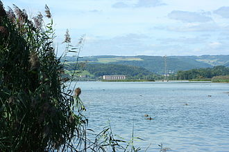 Klingnau - The hydroelectric plant and reservoir at Klingnau