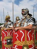 Uniform of Roman legionaries wearing the lorica segmentata, 2nd-3rd century.