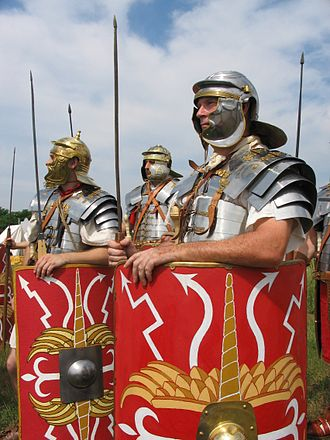 Legionary - A recreation of the appearance of Roman legionaries wearing the lorica segmentata, 1st–3rd century.