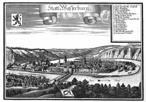 Wasserburg am Inn - Engraving by Michael Wening in Topographia Bavariae around 1700