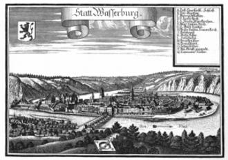 Wasserburg am Inn - Engraving by Michael Wening in Topographia Bavariae around 1700