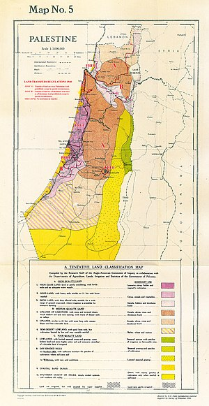 White Paper of 1939 - Land classification and boundaries of land transfer regions as prescribed in 1940.