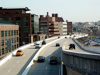 U.S. Route 29 in the District of Columbia - Whitehurst Freeway as seen from Key Bridge.