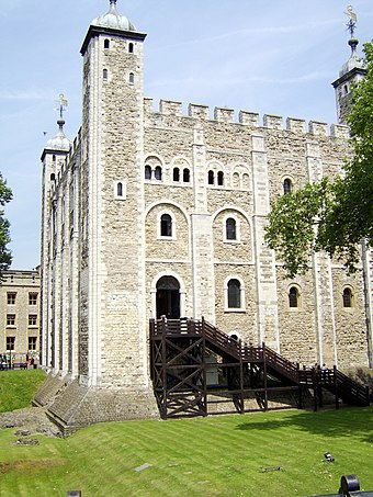 The original entrance to the White Tower was at first-floor level Whitetowerlondon.jpg